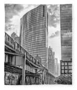 333 W Wacker Drive Black And White Fleece Blanket