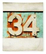34 On Weathered Aqua Fleece Blanket