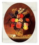 bs-flo- James Henry Wright- Flower Still Life James Henry Wright Fleece Blanket