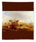 Willis Henry Brittan Horses And Cattle On The Shore Henry Brittan Willis Fleece Blanket
