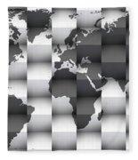 3d Black And White World Map Composition Fleece Blanket