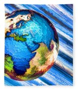 3d Render Of Planet Earth 10 Fleece Blanket