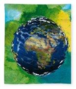3d Render Of Planet Earth 14 Fleece Blanket
