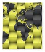 3d World Map Composition 4 Fleece Blanket