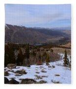 A Snowy Desert Mountain Scene Above Twin Lakes Along The Trail To Monument Ridge In The Eastern Sier Fleece Blanket