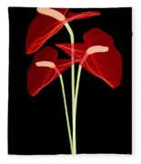 Anthurium Flowers, X-ray Fleece Blanket