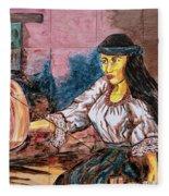 Artisan Market In Quito Fleece Blanket