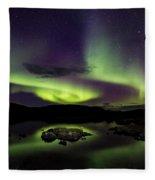 Aurora Borealis Over Iceland Fleece Blanket