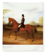 Barraud Henry Richard Paget Of Cropston Leicester On A Bay Hunter Henry Barraud Fleece Blanket