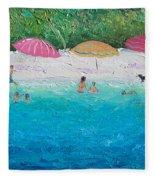 Beach Umbrellas Fleece Blanket