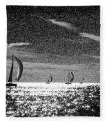 4 Boats On The Horizon Bw Fleece Blanket
