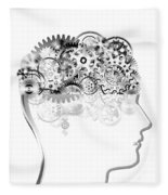 Brain Design By Cogs And Gears Fleece Blanket