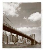 Brooklyn Bridge - New York City Skyline Fleece Blanket