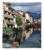 Canals Of Annecy Fleece Blanket