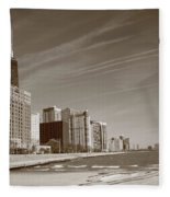 Chicago Skyline And Beach Fleece Blanket
