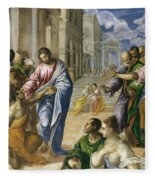 Christ Healing The Blind Fleece Blanket