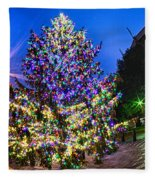 Christmas Tree Near Panther Stadium In Charlotte North Carolina Fleece Blanket