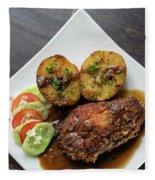Cordon Bleu Breaded Fried Chicken Gravy And Potatoes Meal Fleece Blanket