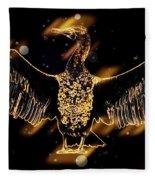 Cormorant Dries Its Wings Fleece Blanket