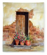 Door With Pots Fleece Blanket