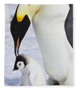 Emperor Penguin And Chick Fleece Blanket