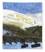 Etihad Airlines Airbus A380 Art Fleece Blanket