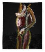 Fat Nude Woman  Fleece Blanket