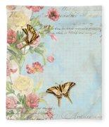 Fleurs De Pivoine - Watercolor W Butterflies In A French Vintage Wallpaper Style Fleece Blanket