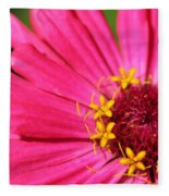 Fuchsia Pink Zinnia From The Whirlygig Mix Fleece Blanket