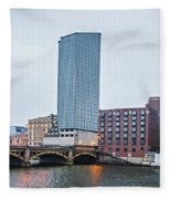 Grand Rapids Michigan City Skyline And Street Scenes Fleece Blanket