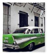 Havana, Cuba - Classic Car Fleece Blanket