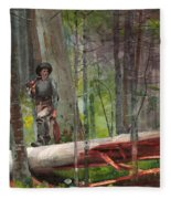 Hunter In The Adirondacks Fleece Blanket