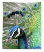 Indian Blue Peacock Fleece Blanket