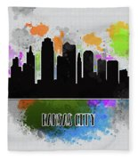 Kansas City Skyline Silhouette Fleece Blanket