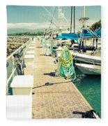 Lahaina Harbor Maui Hawaii Fleece Blanket