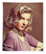 Lauren Bacall, Vintage Actress Fleece Blanket