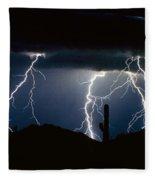4 Lightning Bolts Fine Art Photography Print Fleece Blanket