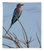 Lilac Breasted Roller On The Hunt Fleece Blanket