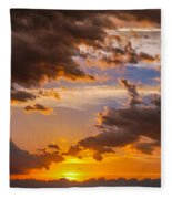 Nebraska Hp Supercell Sunset Fleece Blanket
