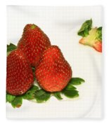 4... No... 3 Strawberries Fleece Blanket