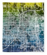 Omaha Nebraska City Map Fleece Blanket