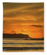 Orange Sunrise Seascape And Silhouettes Fleece Blanket