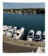 panoramic town 1 - Panorama of Port Mahon Menorca Fleece Blanket