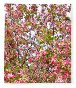 Pink Cherry Tree Fleece Blanket