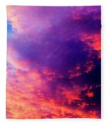 Red Cloudscape At Sunset. Fleece Blanket