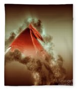 Red Flag On Black Background Fleece Blanket