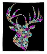 Reindeer Design By Snowflakes Fleece Blanket