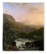 River In The Ardennes At Sunset Fleece Blanket