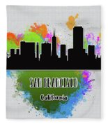 San Francisco Skyline Silhouette Fleece Blanket