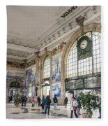 Sao Bento Railway Station Landmark Interior In Porto Portugal Fleece Blanket